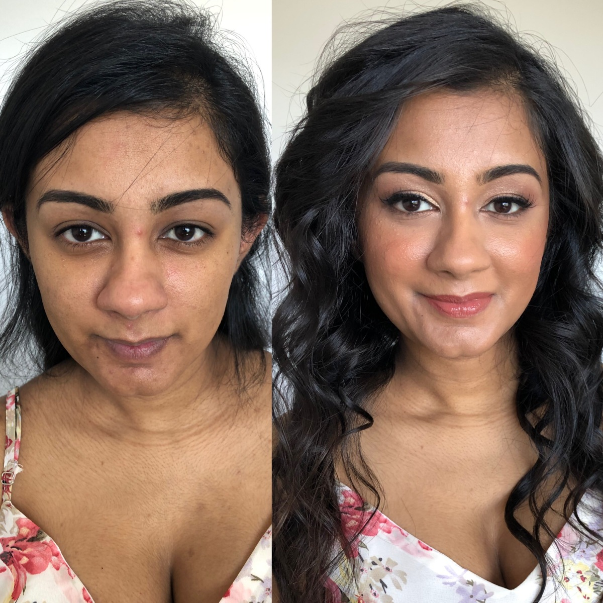 Before and after hair and makeup
